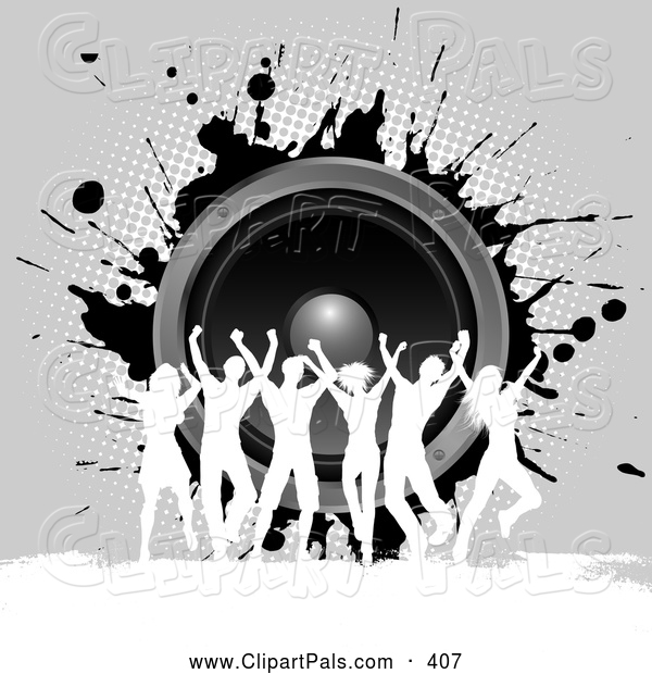 Pal Clipart of a Group of Silhouetted Dancers Against Gray Grunge and Music Speakers