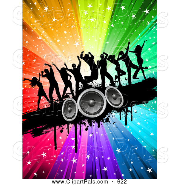 Pal Clipart of a Group of Silhouetted Dancers on a Black Grunge Speaker Bar over a Starry Rainbow Burst