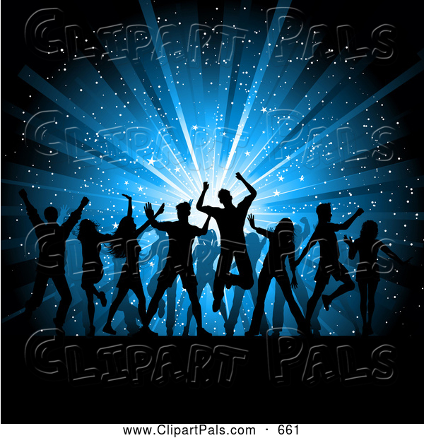 Pal Clipart of a Group of Silhouetted Dancing People over a Blue Star Burst Christmas Background