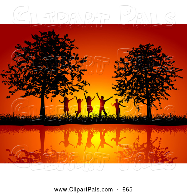 Pal Clipart of a Group of Silhouetted Happy Children Against a Pretty Orange Sunset, Between Trees on a Waterfront