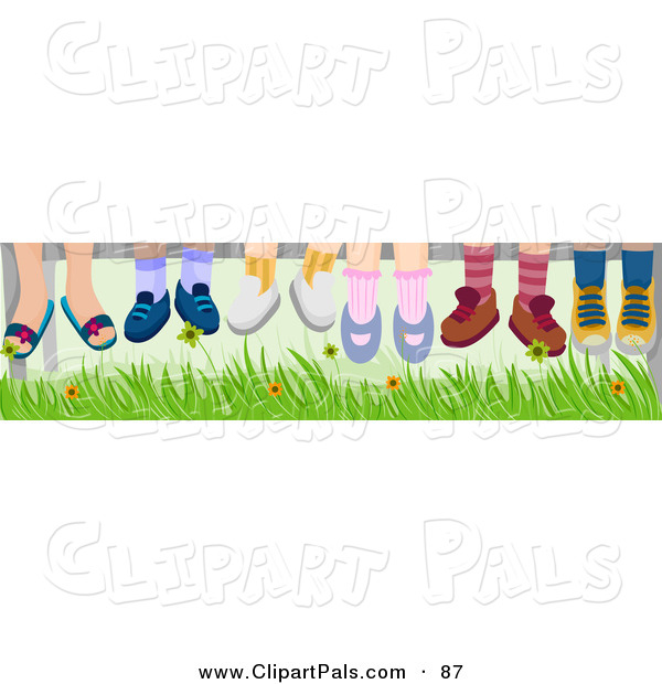 Pal Clipart of a Group of Six Pairs of Children's Feet Hanging down over Grass