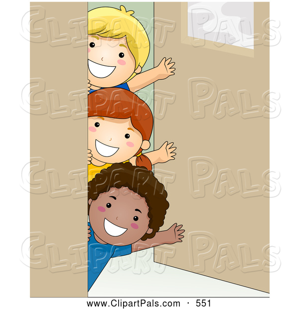 Pal Clipart of a Group of Three Kids Waving Around a Classroom Door