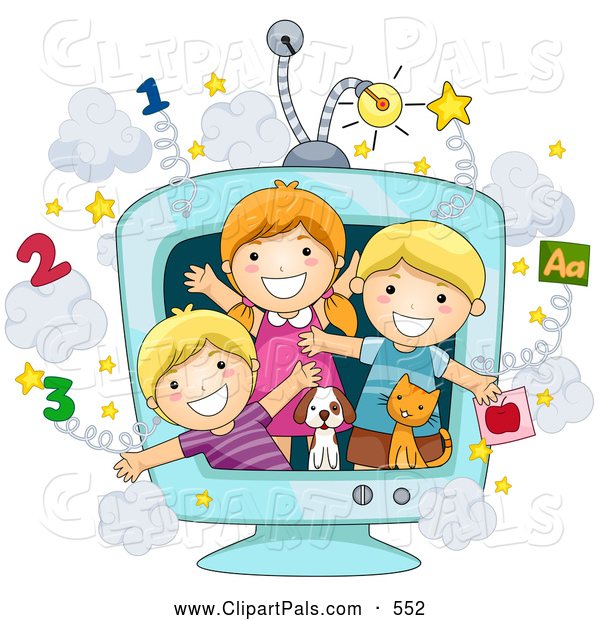 Pal Clipart of a Group of Three School Kids and Animals in an Educational TV