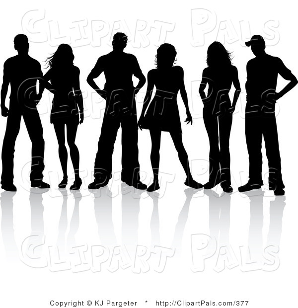Pal Clipart of a Group of Three Silhouetted Couples Standing Together