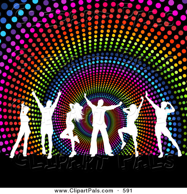 Pal Clipart of a Group of White Silhouetted Dancers over a Rainbow Halftone Spiral Background