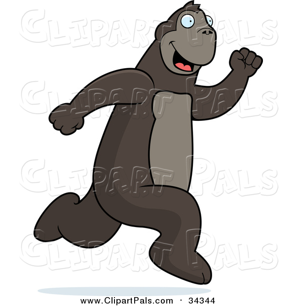 Pal Clipart of a Happy Ape Running