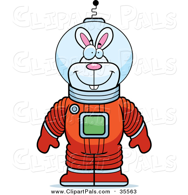 Pal Clipart of a Happy Astronaut Rabbit in a Space Suit