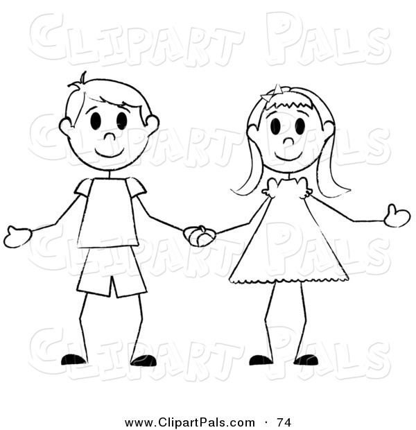 Pal Clipart of a Happy Black and White Stick Boy and Girl Holding Hands