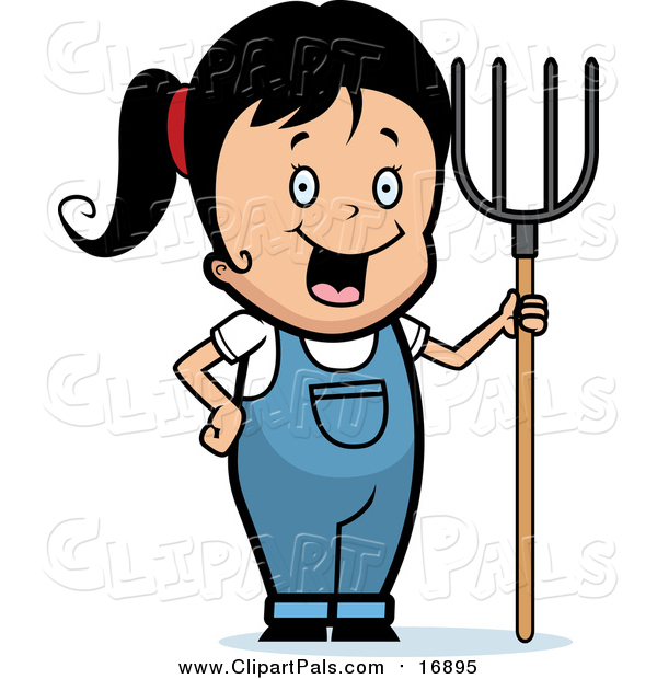 Pal Clipart of a Happy Black Haired Farmer Girl with a Pitchfork
