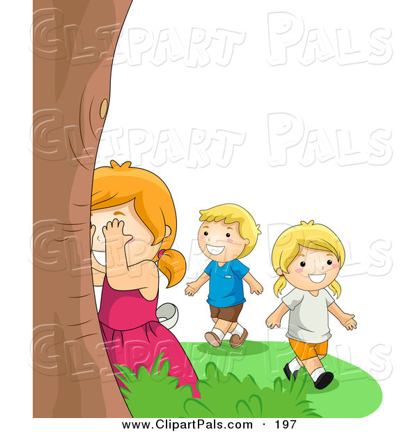 Pal Clipart of a Happy Boy and Two Girls Playing Hide and Seek Outdoors