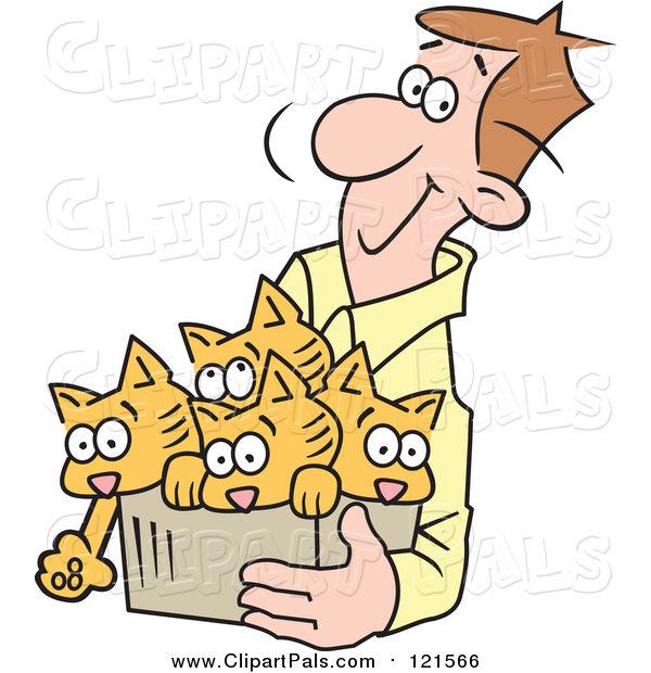 Pal Clipart of a Happy Brunette White Man Carrying Kittens in a Box