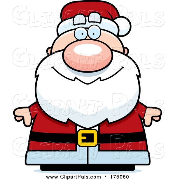 Pal Clipart of a Happy Chubby Santa