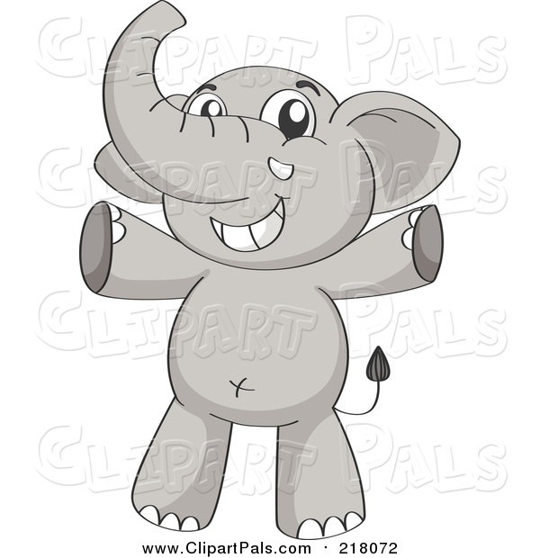 Pal Clipart of a Happy Elephant Cheering