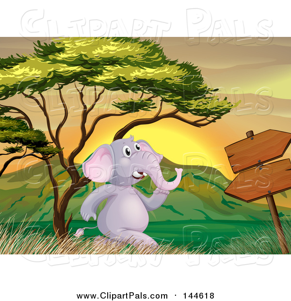 Pal Clipart of a Happy Elephant Running by a Sign at Sunset