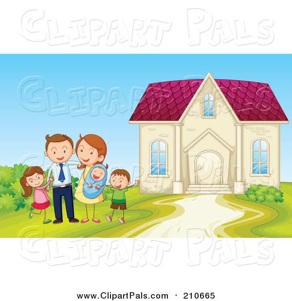 Pal Clipart of a Happy Family Posing Beside Home - Cartoon Style