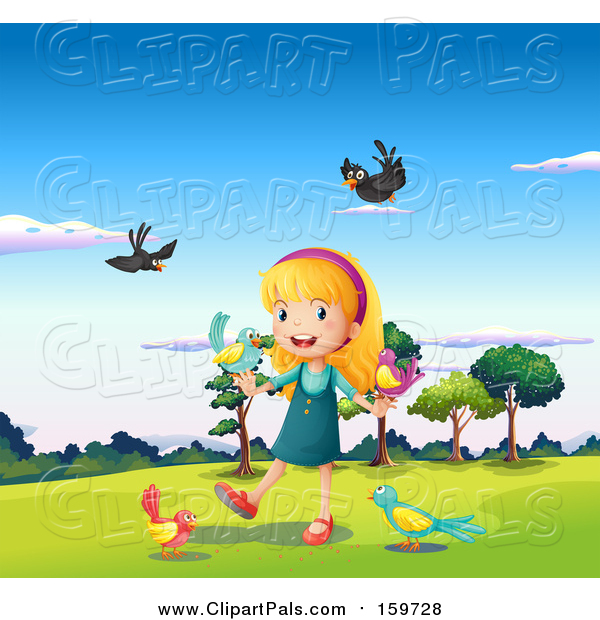 Pal Clipart of a Happy Girl and Birds