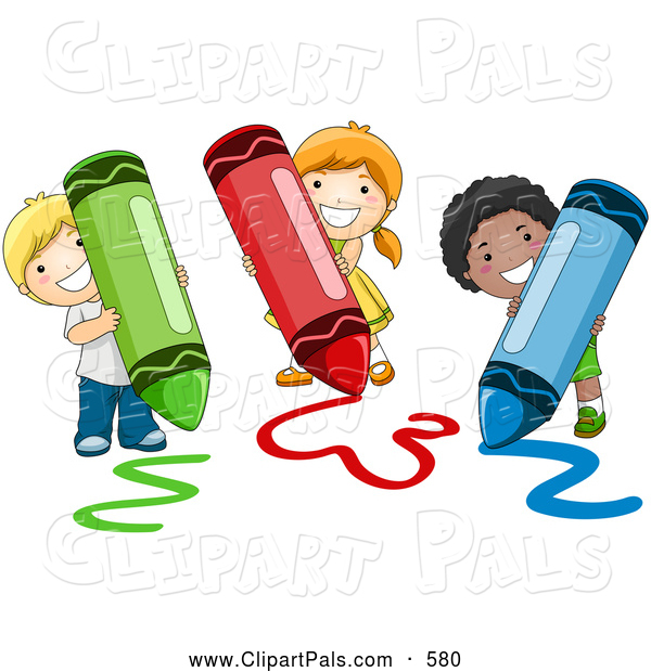 Pal Clipart Of A Happy Group Diverse School Kids Coloring With Crayons