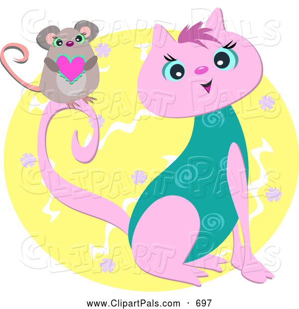 Pal Clipart of a Happy Mouse Holding a Heart on a Pink and Turquoise Cat