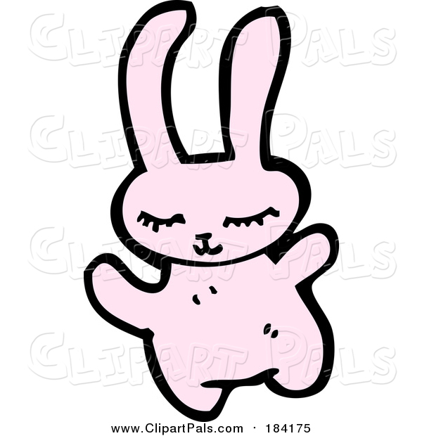 Pal Clipart of a Happy Pink Rabbit