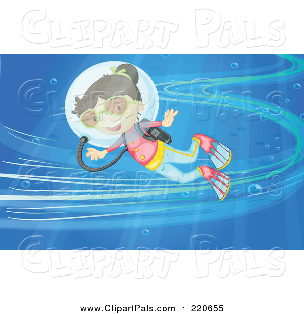 Pal Clipart of a Happy Scuba Girl in an Ocean Current