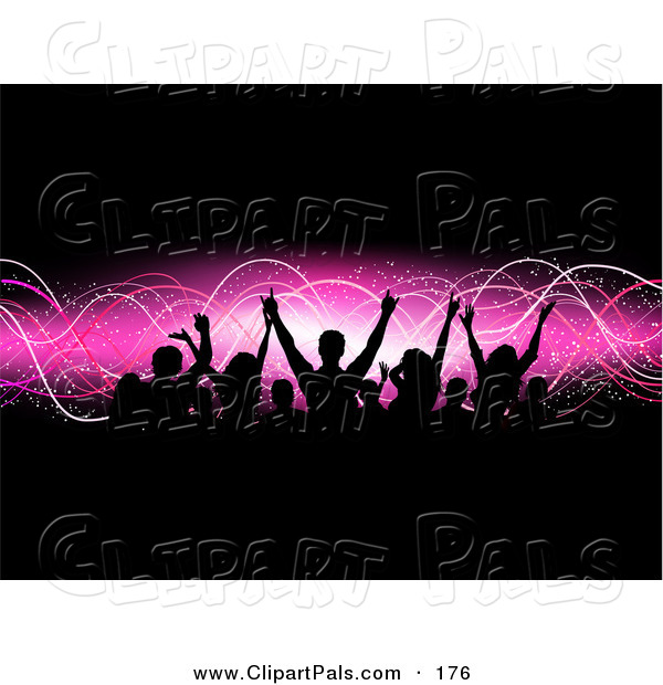 Pal Clipart of a Happy Silhouetted Audience Raising Their Arms over a Pink Wave and Black Background