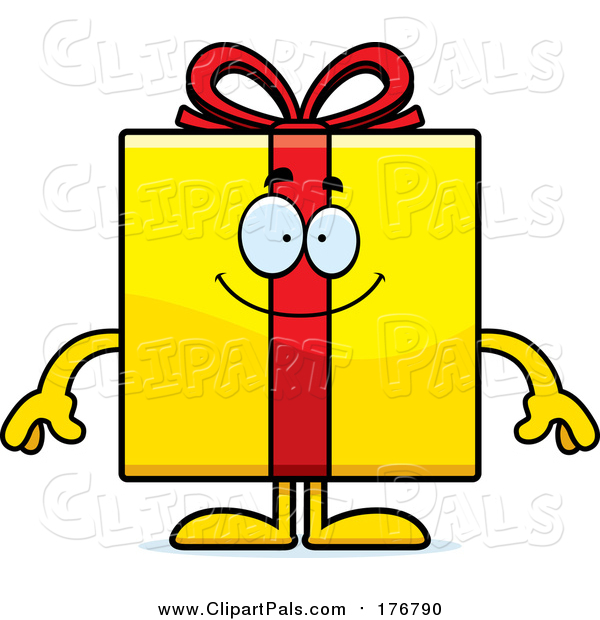 Pal Clipart of a Happy Yellow Gift