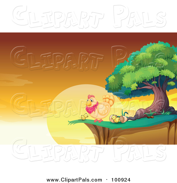 Pal Clipart of a Hen and Chicks on a Cliff Against a Sunrise