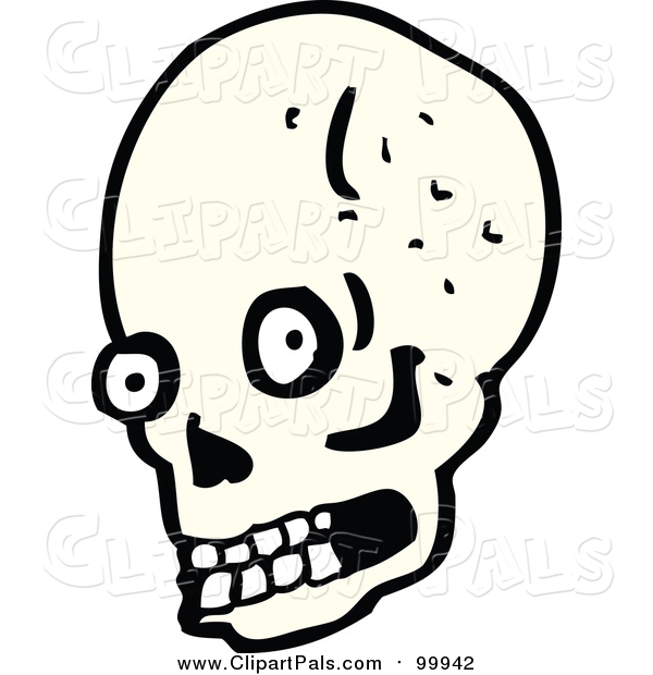 Pal Clipart of a Human Skull with Eyes and Teeth