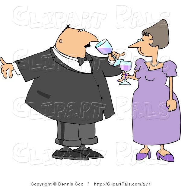 Pal Clipart of a Husband and Wife Toasting Wine at a Party