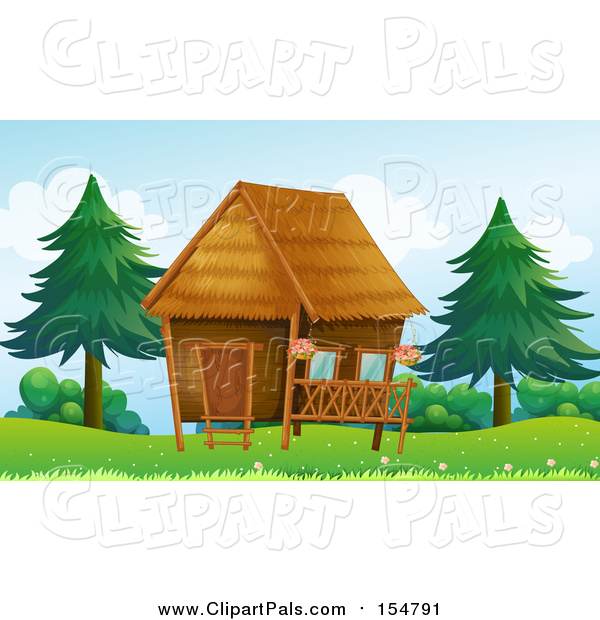 Pal Clipart of a Hut near Trees