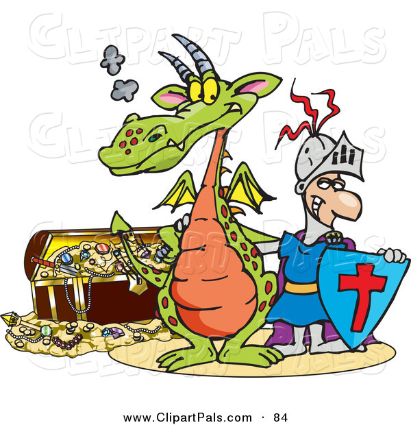 Pal Clipart of a Knight and Green Dragon Standing in Front of a Treasure Chest