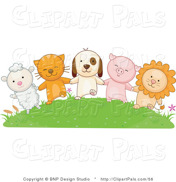 Pal Clipart of a Lamb, Cat, Dog, Pig and Lion Holding Hands on a Green Hill
