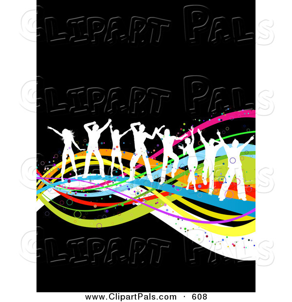 Pal Clipart of a Line of White Dancing People Silhouettes Dancing on Colorful Waves over Black