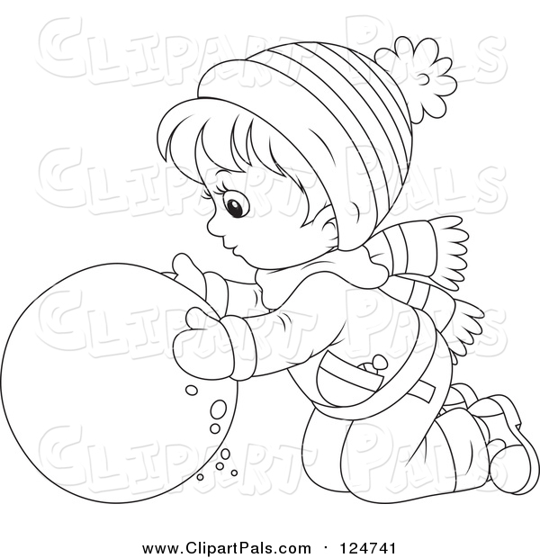 Pal Clipart of a Lineart Boy Rolling a Ball of Snow