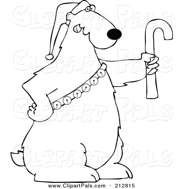 Pal Clipart of a Lineart Christmas Polar Bear Holding a Candy Cane and Wearing a Santa Hat and Bells