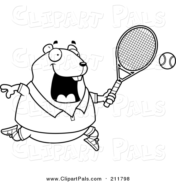 Pal Clipart of a Lineart Chubby Hamster Playing Tennis