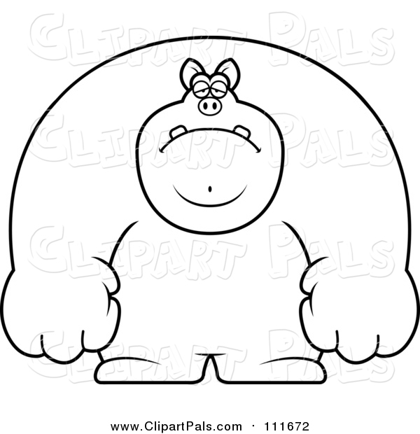 Pal Clipart of a Lineart Depressed Buff Pig