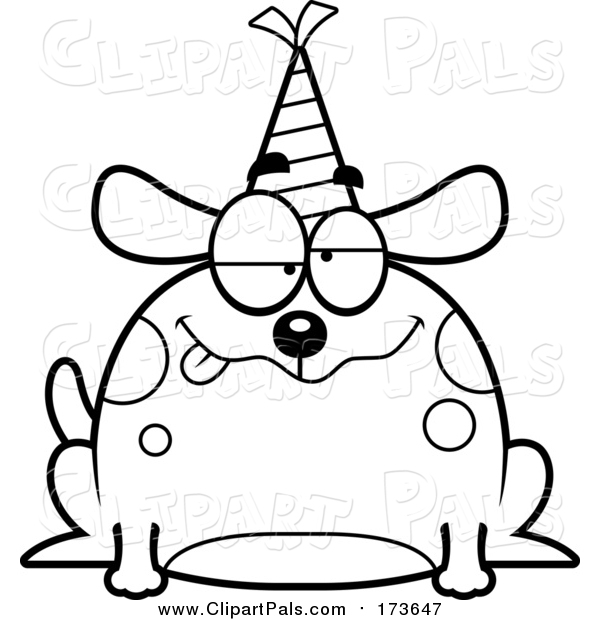 Pal Clipart of a Lineart Drunk Birthday Dog Wearing a Party Hat