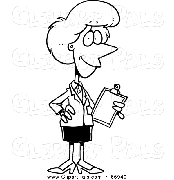 Pal Clipart of a Lineart Female Executive Holding a Clipboard