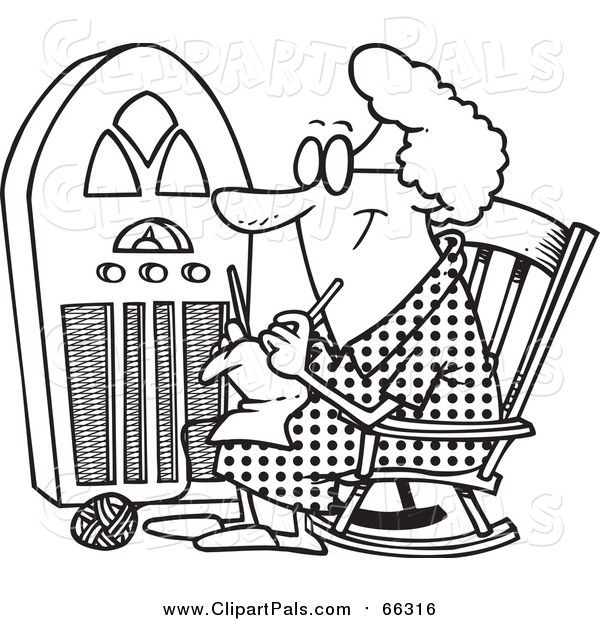 Pal Clipart of a Lineart Granny Knitting by a Radio