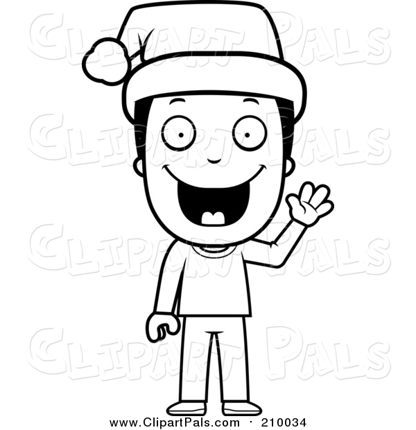 Pal Clipart of a Lineart Happy Christmas Boy Wearing a Santa Hat