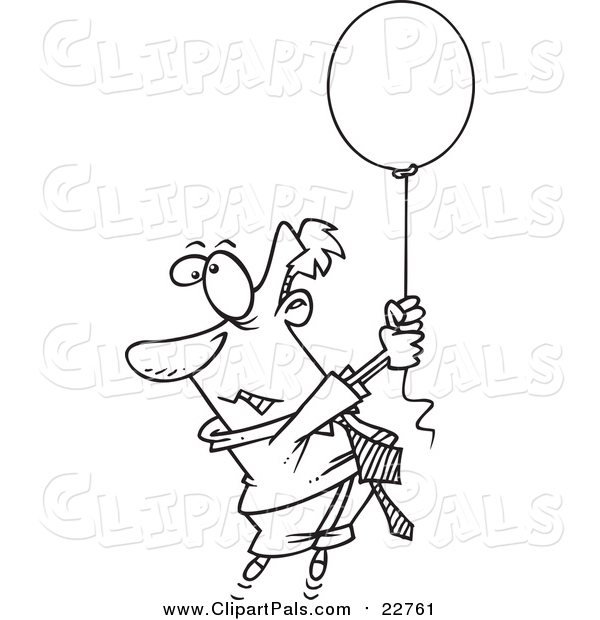 Pal Clipart of a Lineart Man Floating Away with a Balloon
