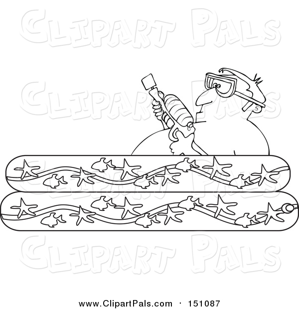 Pal Clipart of a Lineart Man Holding a Squirt Gun in a Kiddie Pool