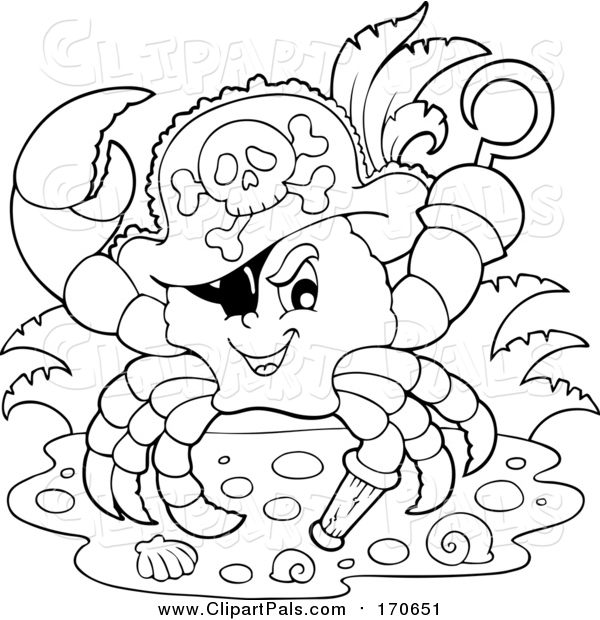 Pal Clipart of a Lineart Pirate Crab Captain with a Hat Peg Leg and Hook Hand