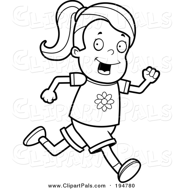 Pal Clipart of a Lineart Running Girl