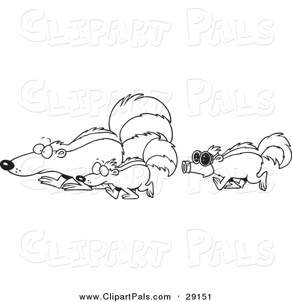 Pal Clipart of a Lineart Skunk Wearing a Mask and Following Others