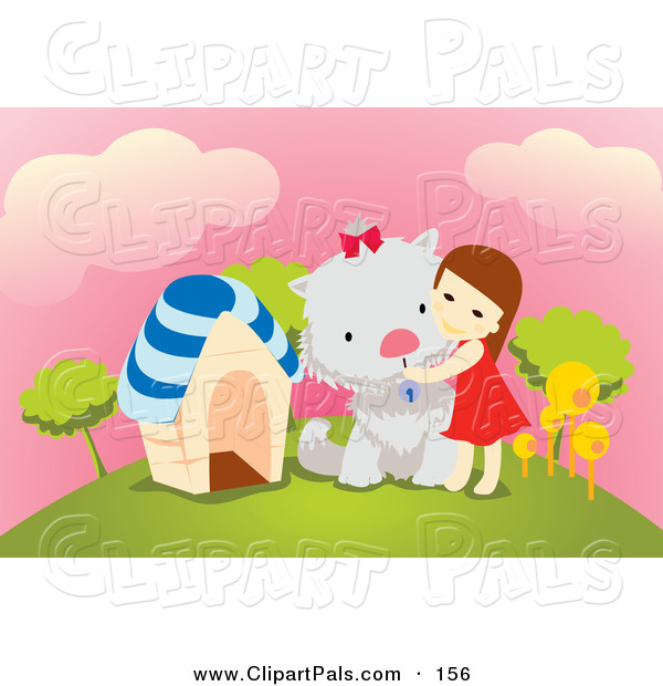 Pal Clipart of a Little Brunette Girl Hugging Her Giant Dog on a Hill