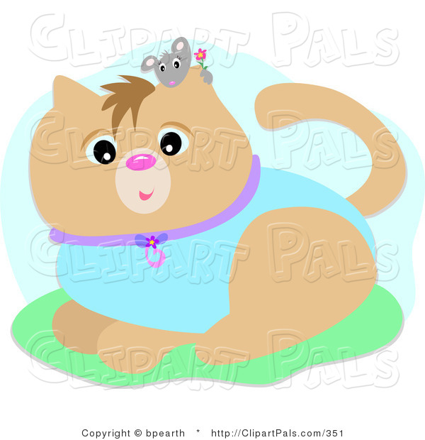 Pal Clipart of a Little Gray Mouse Holding a Flower, Peeking over a Brown Cat's Ear