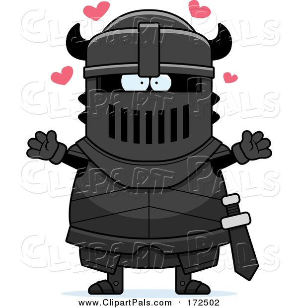 Pal Clipart of a Loving Armoured Black Knight Wanting a Hug