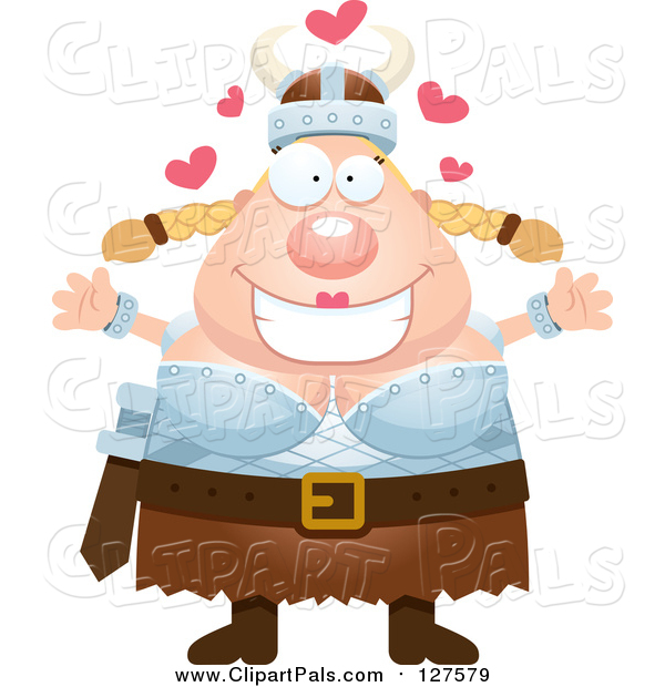 Pal Clipart of a Loving Blond Caucasian Viking Woman Wanting a Hug